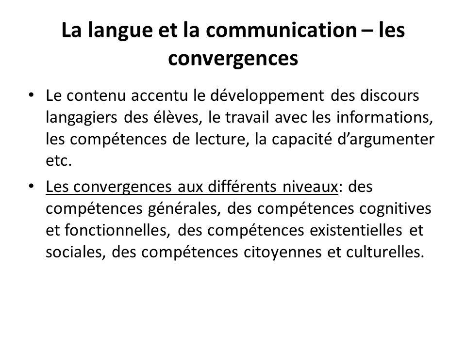 La langue et la communication – les convergences Le contenu accentu le développement des discours langagiers des élèves, le travail avec les informations, les compétences de lecture, la capacité dargumenter etc.