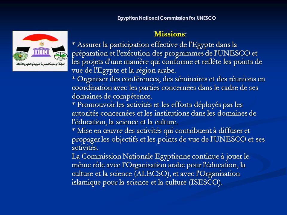 Missions: Missions: * Assurer la participation effective de l Egypte dans la préparation et l exécution des programmes de l UNESCO et les projets d une manière qui conforme et reflète les points de vue de l Egypte et la région arabe.
