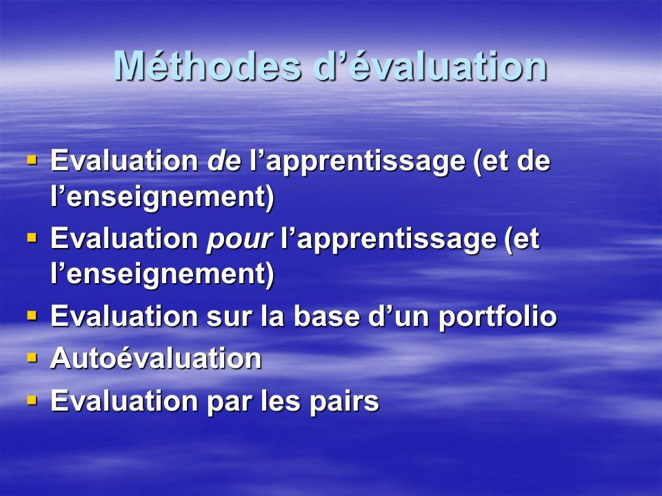 Faire le meilleur usage de lévaluation La question fondamentale quil convient de se poser est la suivante : POURQUOI voulons-nous un système dévaluation .