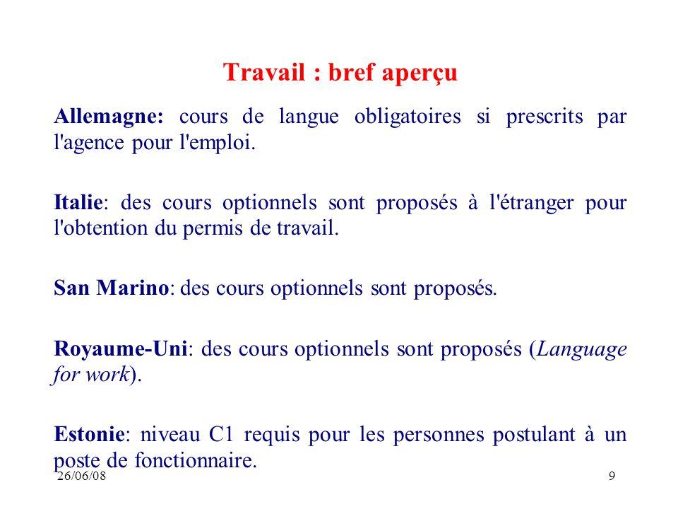 26/06/089 Travail : bref aperçu Allemagne: cours de langue obligatoires si prescrits par l agence pour l emploi.