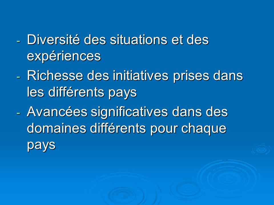 - Diversité des situations et des expériences - Richesse des initiatives prises dans les différents pays - Avancées significatives dans des domaines différents pour chaque pays