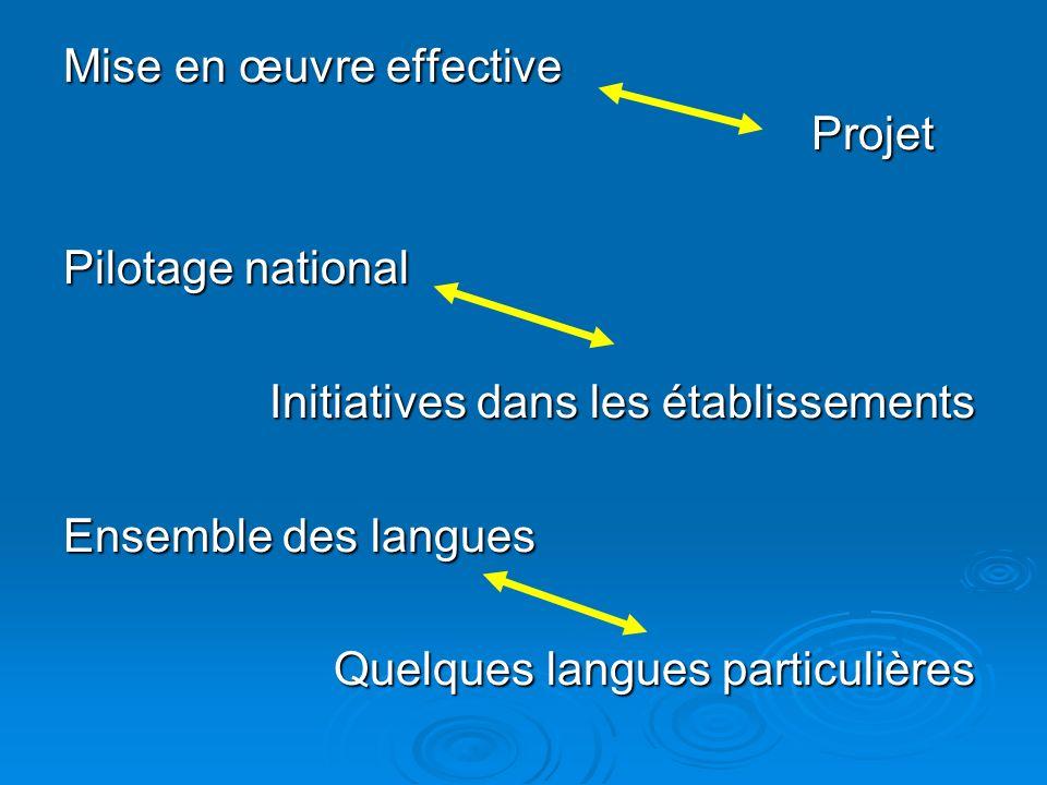 Mise en œuvre effective Projet Projet Pilotage national Initiatives dans les établissements Initiatives dans les établissements Ensemble des langues Quelques langues particulières Quelques langues particulières