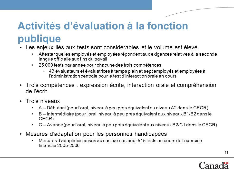 11 Activités dévaluation à la fonction publique Les enjeux liés aux tests sont considérables et le volume est élevé Attester que les employés et emplo