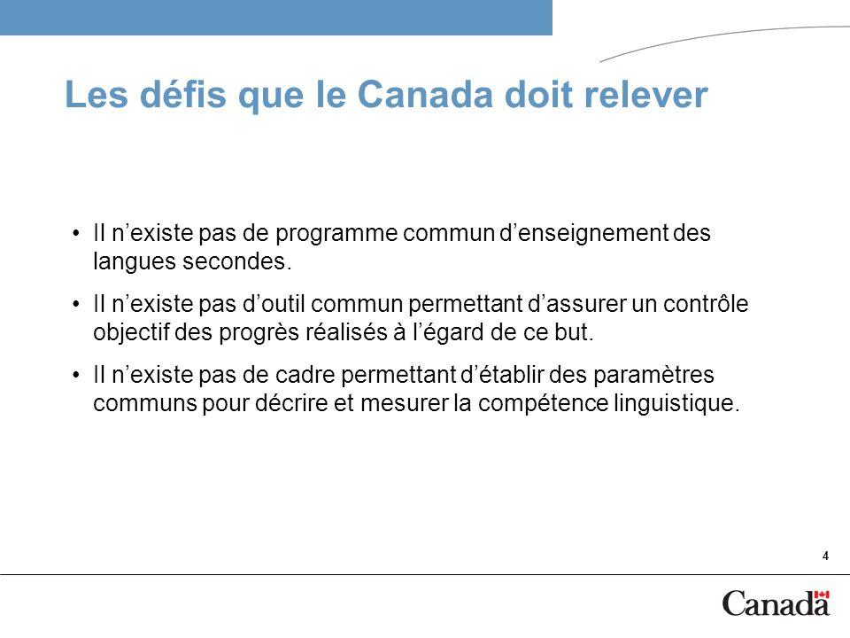 4 Les défis que le Canada doit relever Il nexiste pas de programme commun denseignement des langues secondes. Il nexiste pas doutil commun permettant