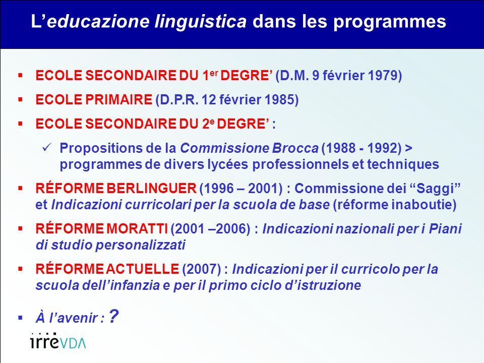 ECOLE SECONDAIRE DU 1 er DEGRE (D.M. 9 février 1979) ECOLE PRIMAIRE (D.P.R.