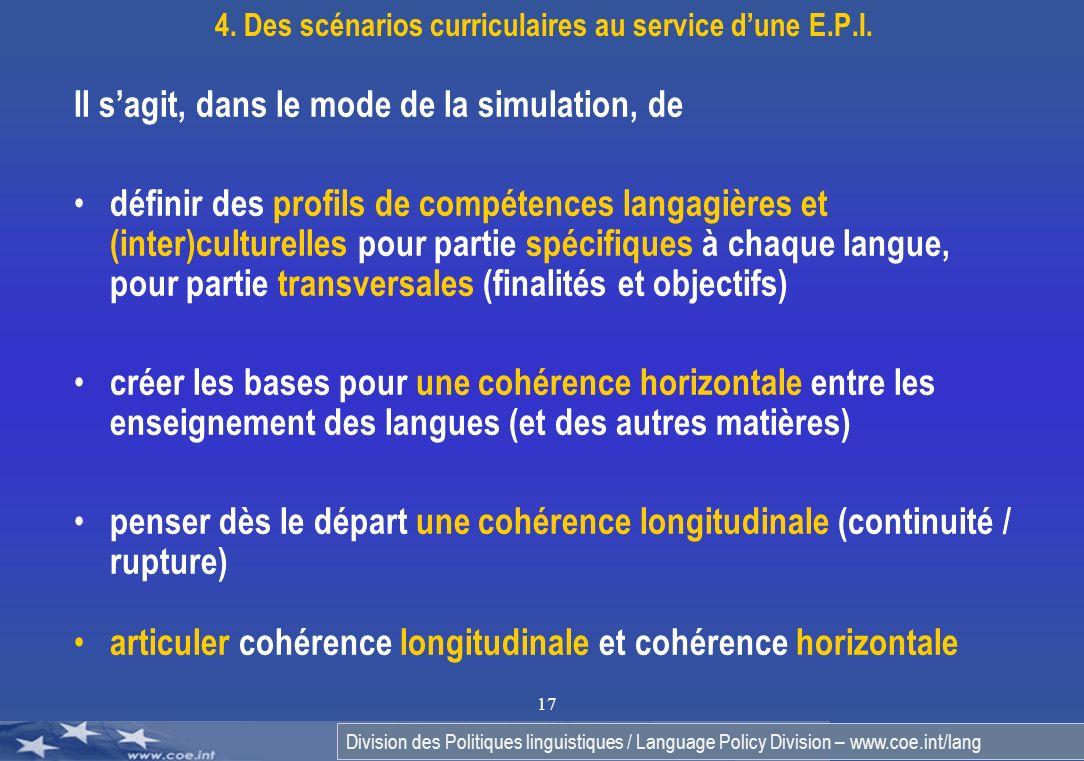 Division des Politiques linguistiques / Language Policy Division – www.coe.int/lang 17 Il sagit, dans le mode de la simulation, de définir des profils