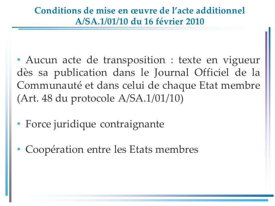 Conditions de mise en œuvre de lacte additionnel A/SA.1/01/10 du 16 février 2010 Aucun acte de transposition : texte en vigueur dès sa publication dans le Journal Officiel de la Communauté et dans celui de chaque Etat membre (Art.