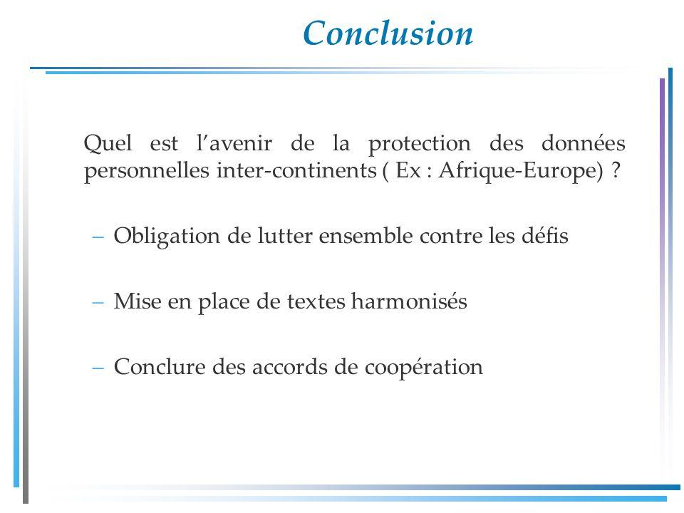 Conclusion Quel est lavenir de la protection des données personnelles inter-continents ( Ex : Afrique-Europe) .