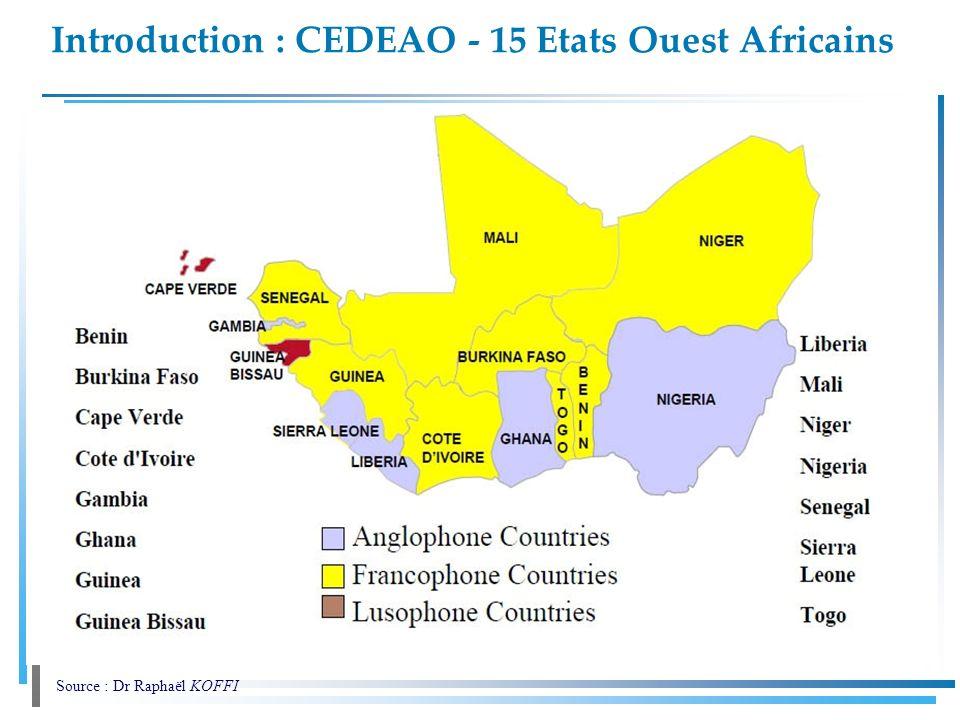 Introduction : CEDEAO - 15 Etats Ouest Africains. Source : Dr Raphaël KOFFI