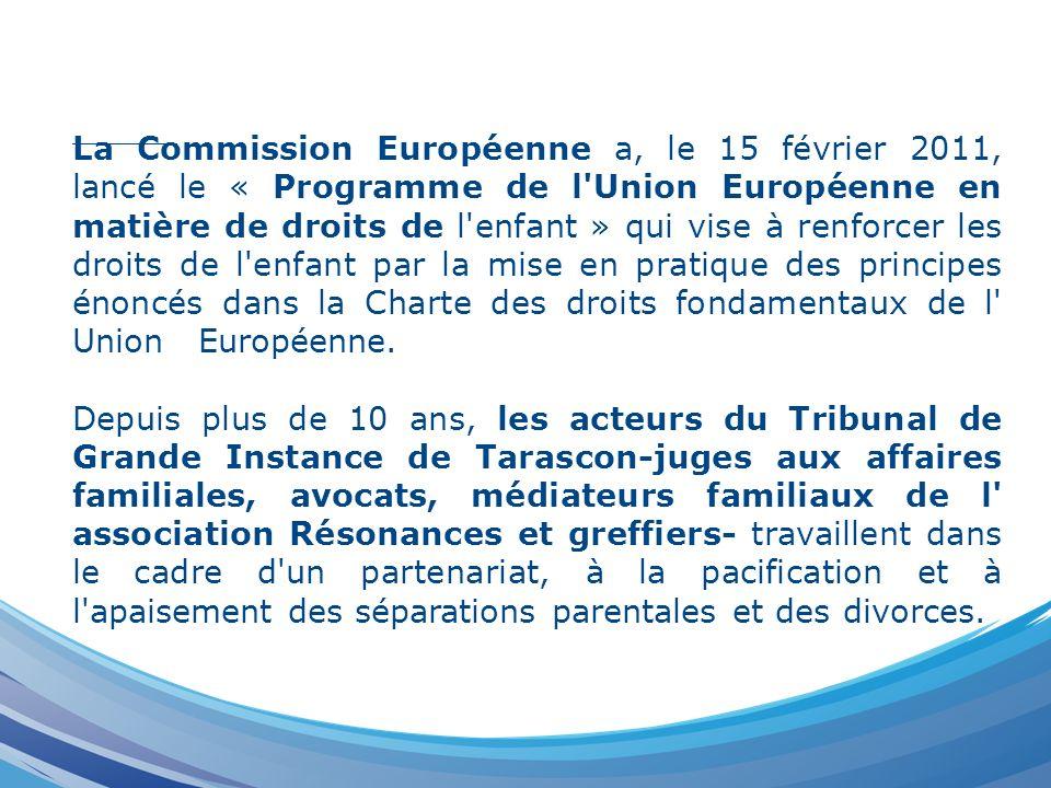 La Commission Européenne a, le 15 février 2011, lancé le « Programme de l'Union Européenne en matière de droits de l'enfant » qui vise à renforcer les