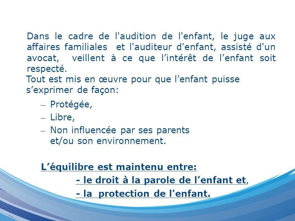 – Protégée, – Libre, – Non influencée par ses parents et/ou son environnement. Léquilibre est maintenu entre: - le droit à la parole de lenfant et, -