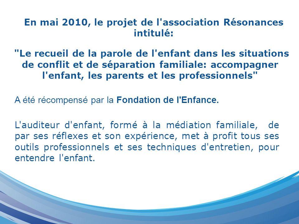 En mai 2010, le projet de l'association Résonances intitulé: A été récompensé par la Fondation de l'Enfance.