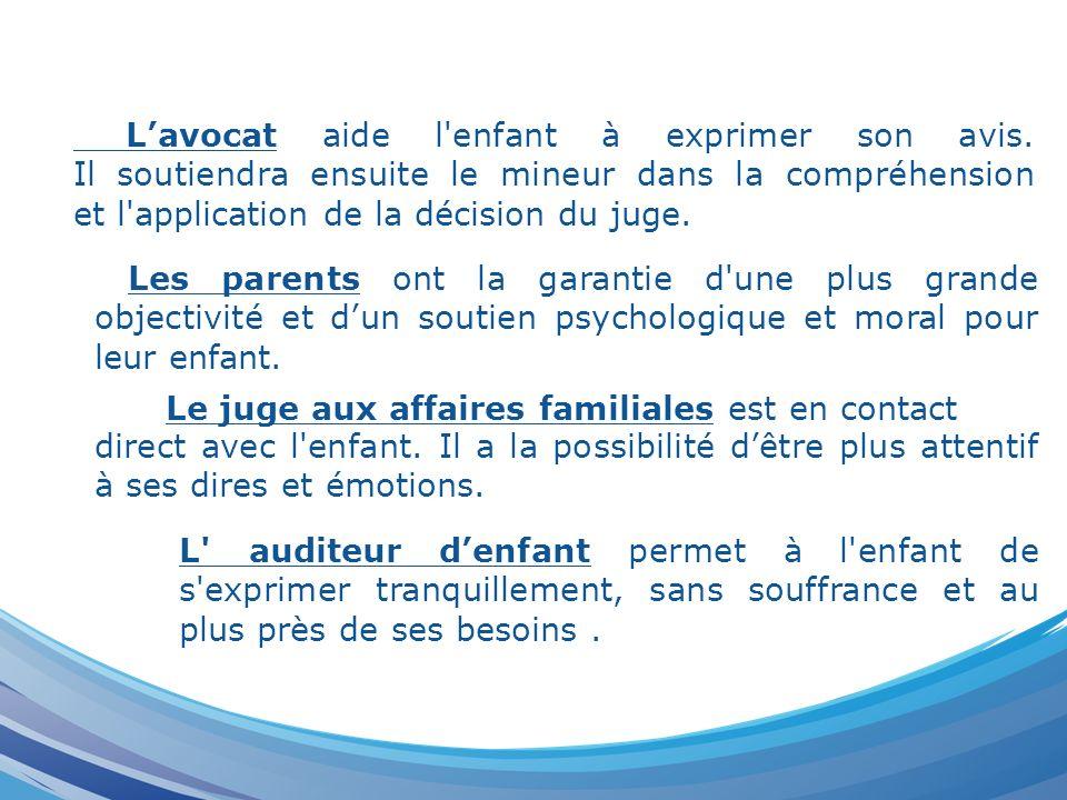 Lavocat aide l'enfant à exprimer son avis. Il soutiendra ensuite le mineur dans la compréhension et l'application de la décision du juge. Les parents