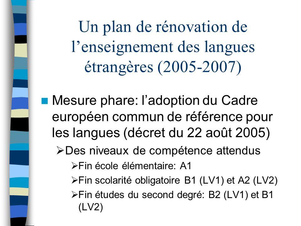 La possibilité de dispenser les enseignements en groupes de compétences Des certifications attestant des connaissances et compétences Création de commissions académiques sur lenseignement des langues vivantes étrangères