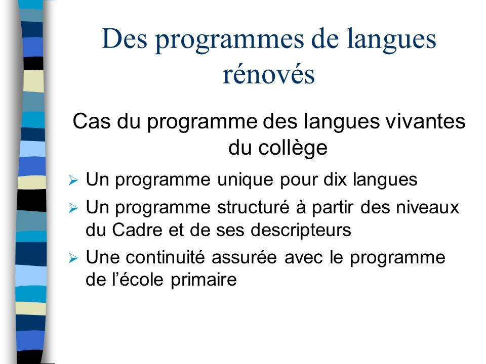 Les évolutions introduites par le Cadre européen Des objectifs clairs pour chaque niveau Un affichage par activité langagière Une approche actionnelle de la langue grâce à la notion de tâches Une approche plus riche et plus authentique de la compétence de communication grâce à la mise en évidence des composantes socio- linguistique et pragmatique