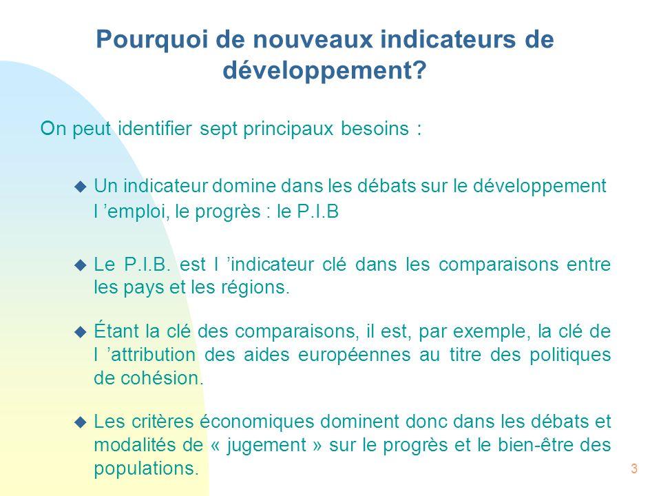 3 On peut identifier sept principaux besoins : u Un indicateur domine dans les débats sur le développement l emploi, le progrès : le P.I.B u Le P.I.B.