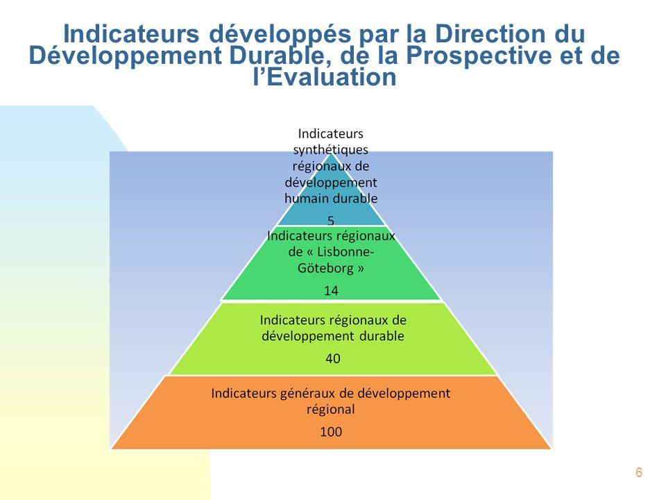 6 Indicateurs développés par la Direction du Développement Durable, de la Prospective et de lEvaluation
