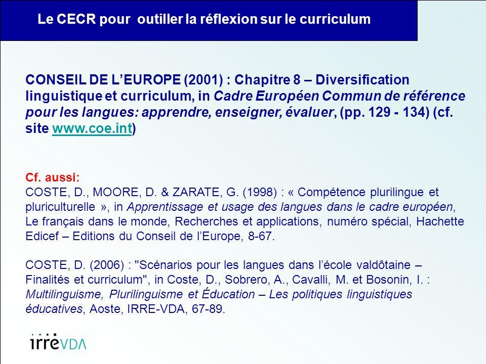 Le CECR pour outiller la réflexion sur le curriculum CONSEIL DE LEUROPE (2001) : Chapitre 8 – Diversification linguistique et curriculum, in Cadre Européen Commun de référence pour les langues: apprendre, enseigner, évaluer, (pp.