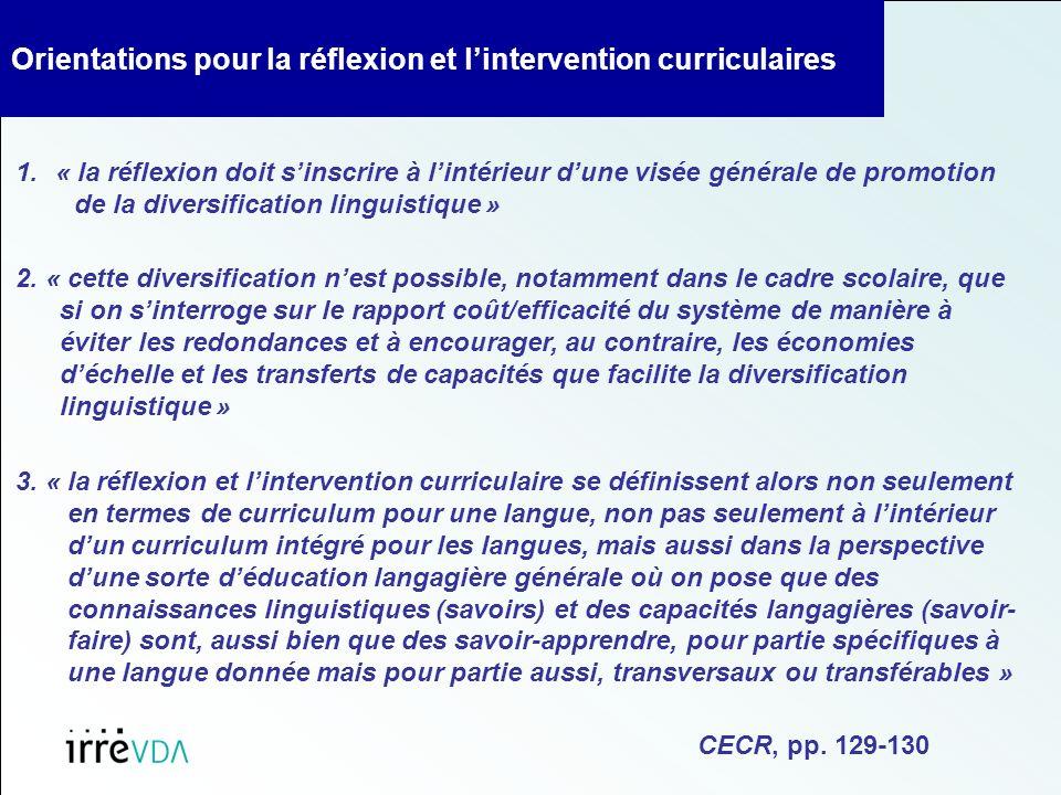 Orientations pour la réflexion et lintervention curriculaires 1.« la réflexion doit sinscrire à lintérieur dune visée générale de promotion de la diversification linguistique » 2.