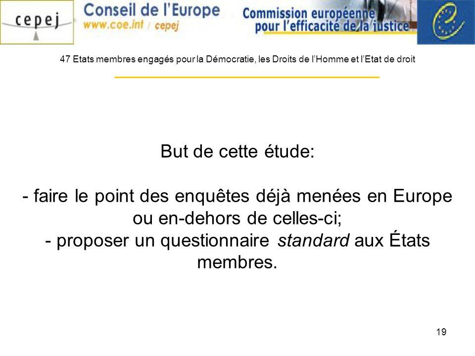 19 47 Etats membres engagés pour la Démocratie, les Droits de lHomme et lEtat de droit But de cette étude: - faire le point des enquêtes déjà menées en Europe ou en-dehors de celles-ci; - proposer un questionnaire standard aux États membres.