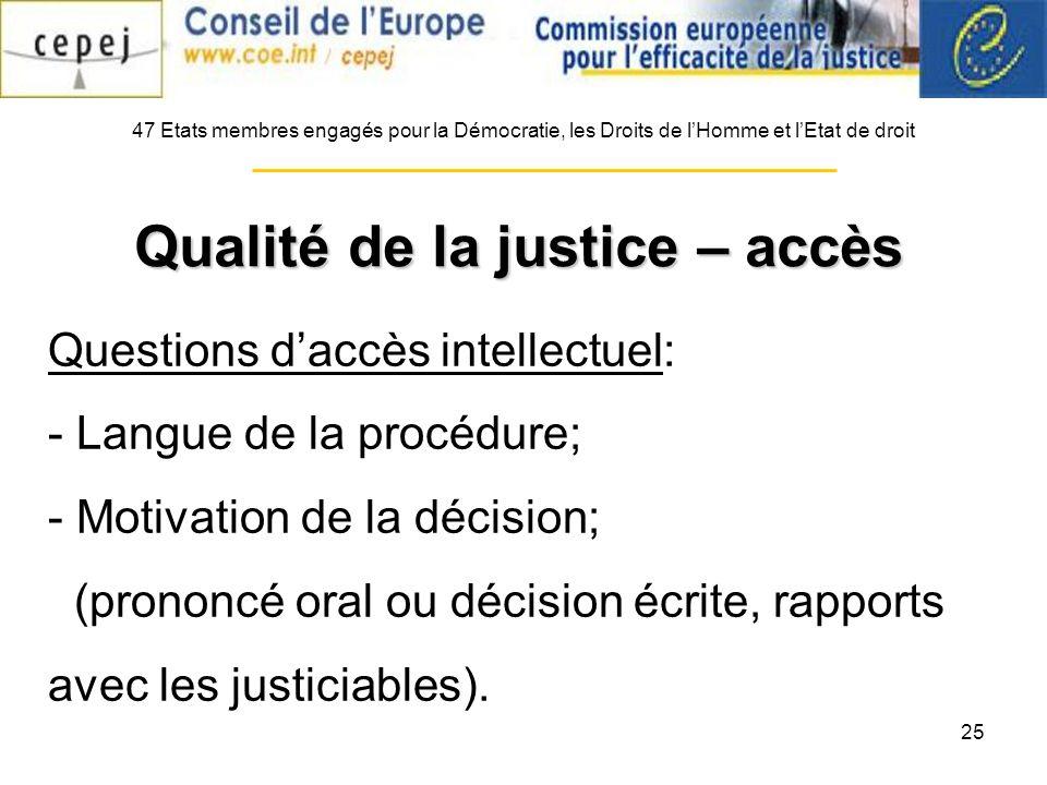 25 Questions daccès intellectuel: - Langue de la procédure; - Motivation de la décision; (prononcé oral ou décision écrite, rapports avec les justiciables).