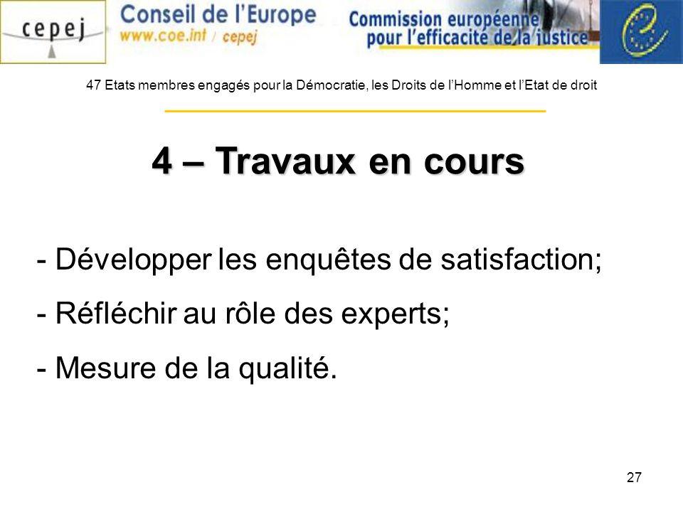 27 - Développer les enquêtes de satisfaction; - Réfléchir au rôle des experts; - Mesure de la qualité.