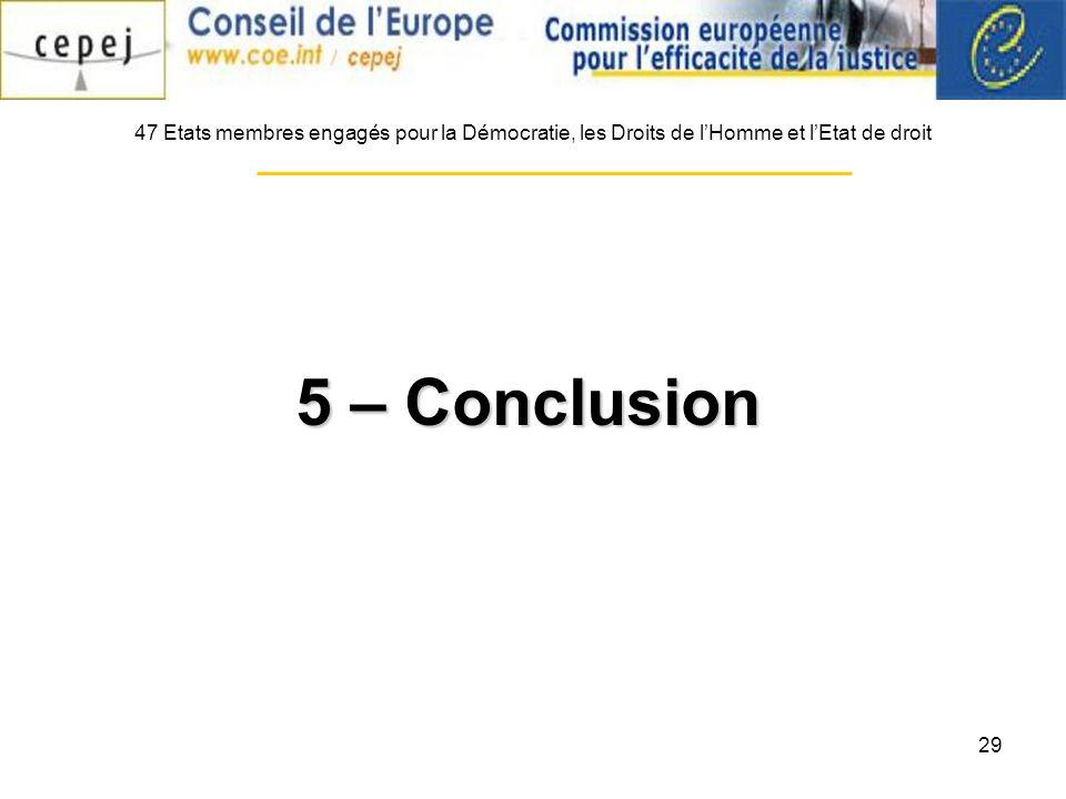 29 47 Etats membres engagés pour la Démocratie, les Droits de lHomme et lEtat de droit 5 – Conclusion