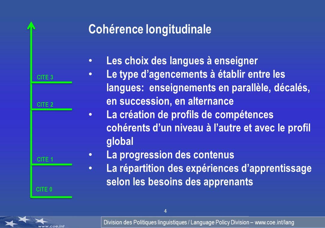 Division des Politiques linguistiques / Language Policy Division – www.coe.int/lang 4 CITE 0 CITE 1 CITE 2 CITE 3 Cohérence longitudinale Les choix de