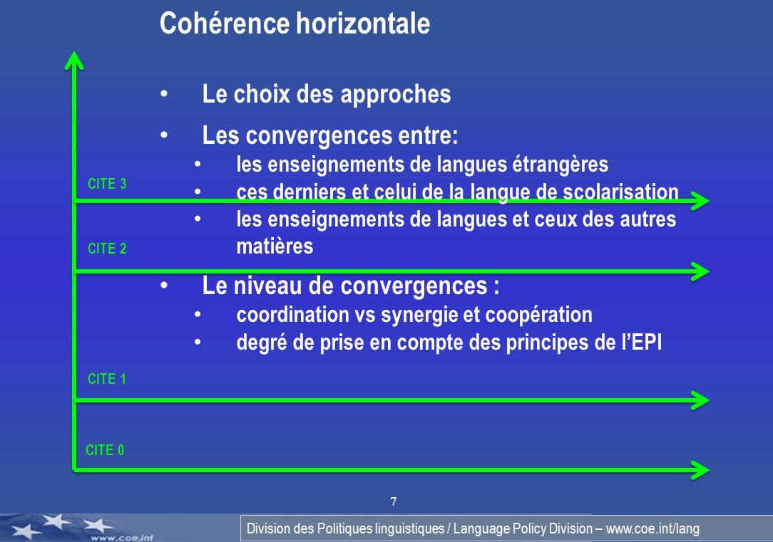 Division des Politiques linguistiques / Language Policy Division – www.coe.int/lang 7 CITE 0 CITE 1 CITE 2 CITE 3 Cohérence horizontale Le choix des a