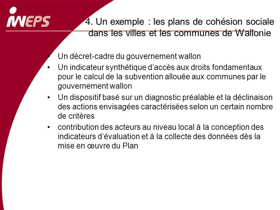 4. Un exemple : les plans de cohésion sociale dans les villes et les communes de Wallonie Un décret-cadre du gouvernement wallon Un indicateur synthét