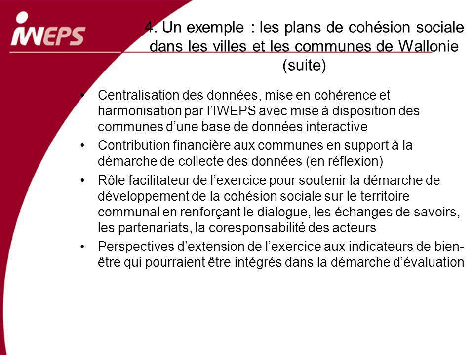 4. Un exemple : les plans de cohésion sociale dans les villes et les communes de Wallonie (suite) Centralisation des données, mise en cohérence et har