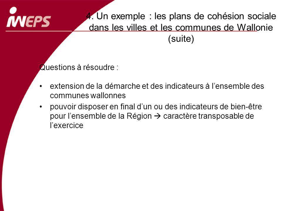 4. Un exemple : les plans de cohésion sociale dans les villes et les communes de Wallonie (suite) Questions à résoudre : extension de la démarche et d