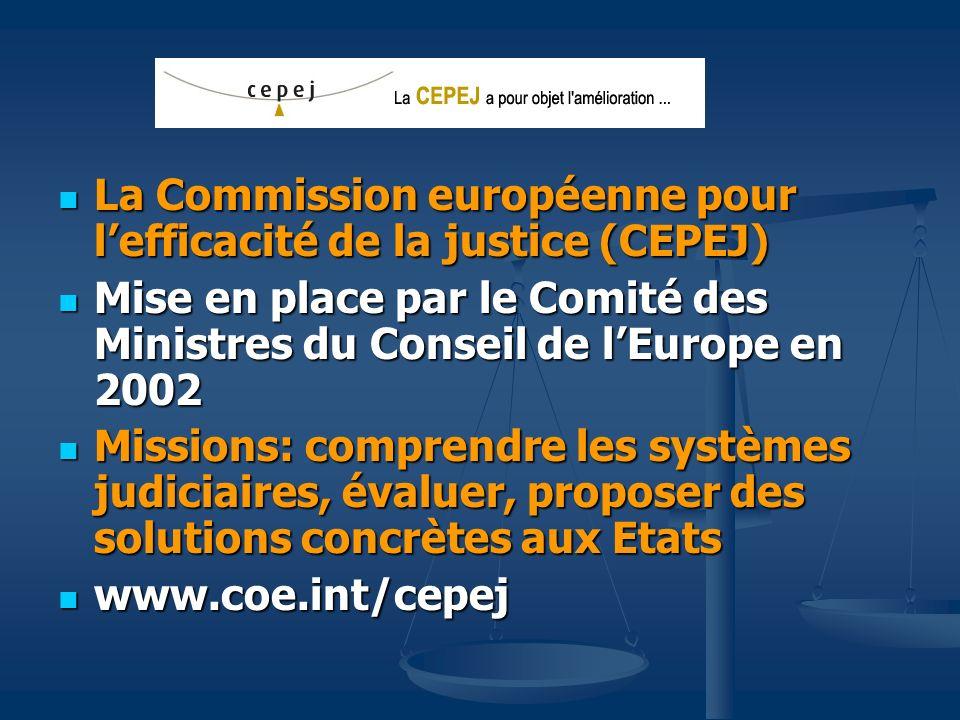 Lune des tâches de la CEPEJ est lévaluation des systèmes judiciaires 1ère évaluation- pilote publiée en 2004: données 2002 1ère évaluation- pilote publiée en 2004: données 2002 2ème évaluation publiée en octobre 2006: données 2004 2ème évaluation publiée en octobre 2006: données 2004