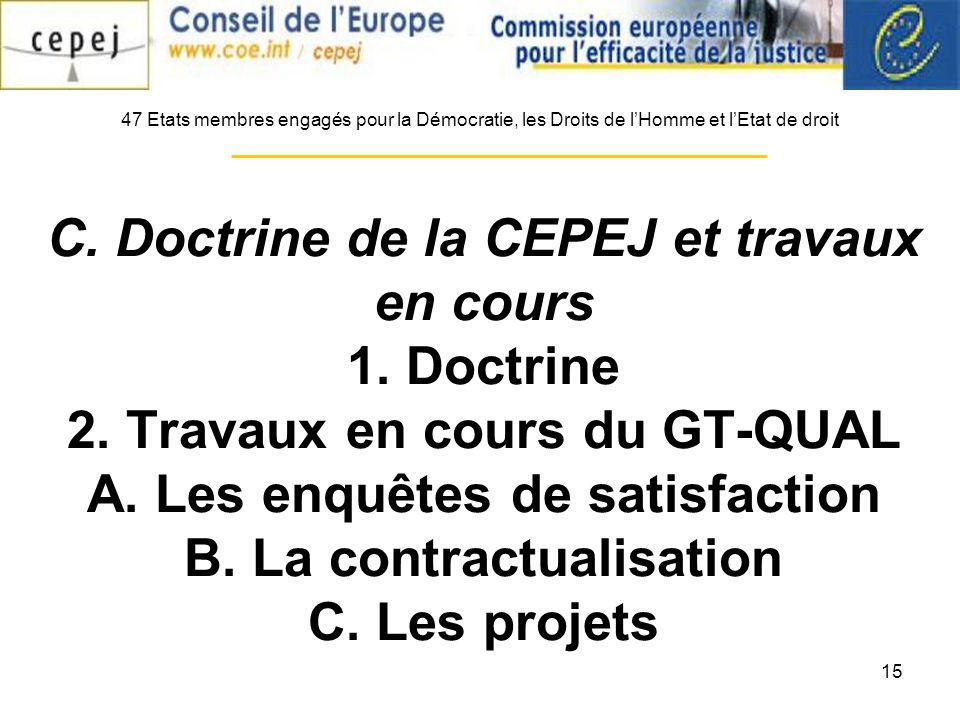 15 C. Doctrine de la CEPEJ et travaux en cours 1.