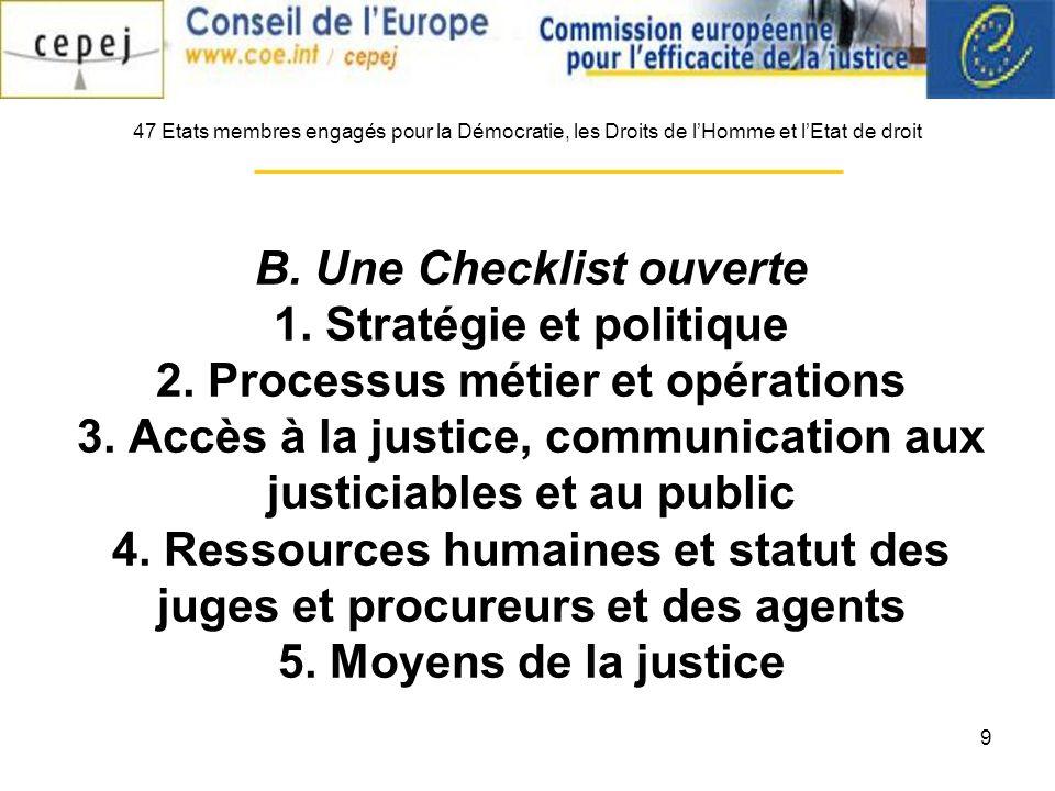 9 B. Une Checklist ouverte 1. Stratégie et politique 2.