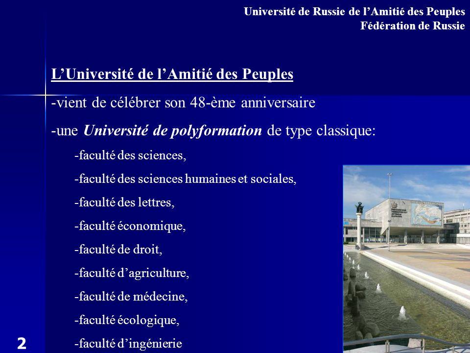 - 28 milles étudiants Université de Russie de lAmitié des Peuples parmi lequels - des étudiantes étrangers représentent 130-140 pays 3