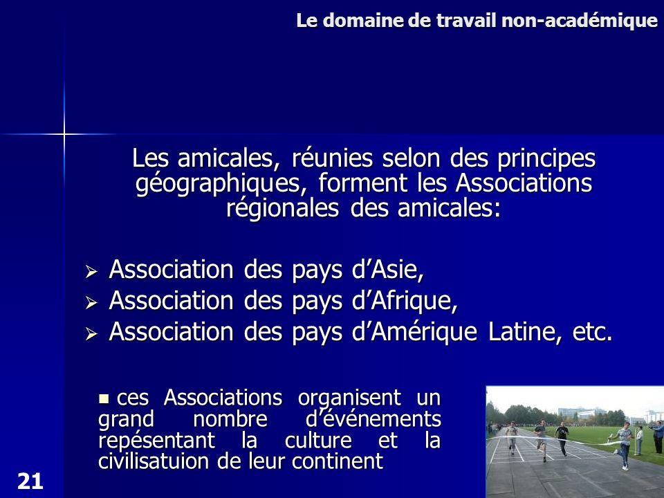 Les amicales, réunies selon des principes géographiques, forment les Associations régionales des amicales: Association des pays dAsie, Association des pays dAsie, Association des pays dAfrique, Association des pays dAfrique, Association des pays dAmérique Latine, etc.