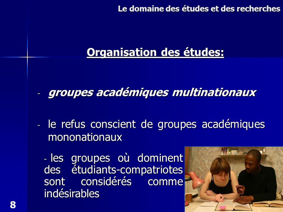- groupes académiques multinationaux - le refus conscient de groupes académiques mononationaux Le domaine des études et des recherches Organisation des études: - les groupes où dominent des étudiants-compatriotes sont considérés comme indésirables 8