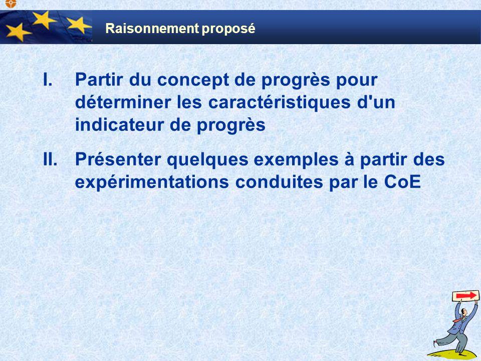 I.Partir du concept de progrès pour déterminer les caractéristiques d un indicateur de progrès II.Présenter quelques exemples à partir des expérimentations conduites par le CoE Raisonnement proposé