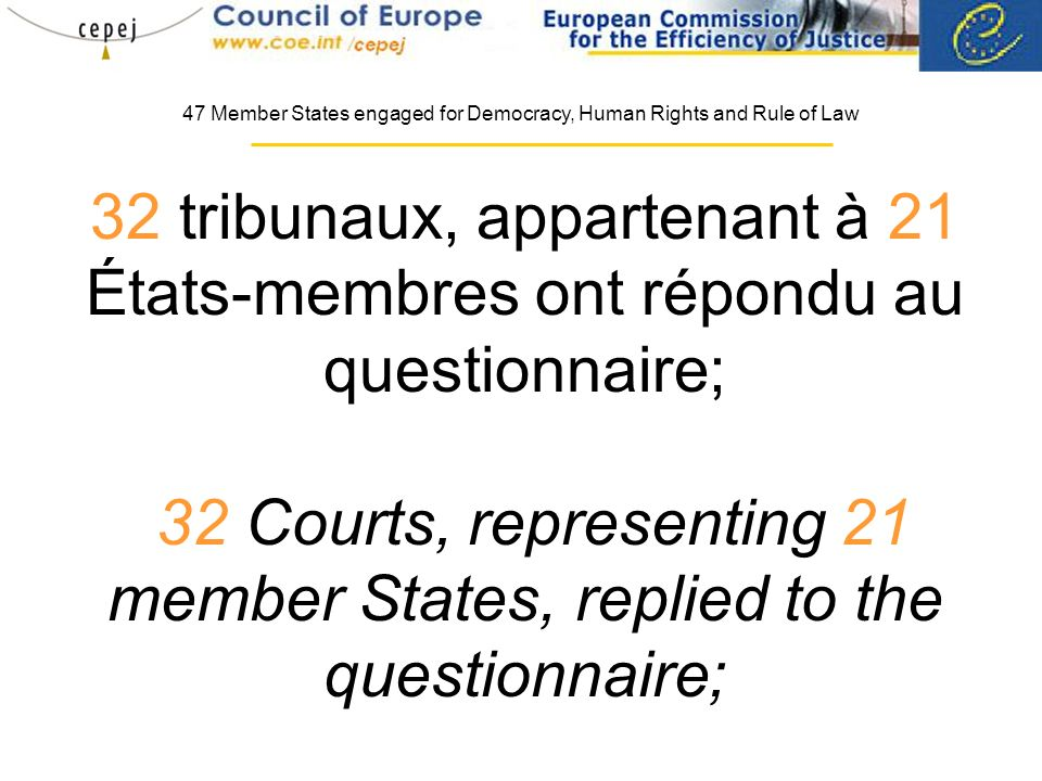 32 tribunaux, appartenant à 21 États-membres ont répondu au questionnaire; 32 Courts, representing 21 member States, replied to the questionnaire; 47 Member States engaged for Democracy, Human Rights and Rule of Law