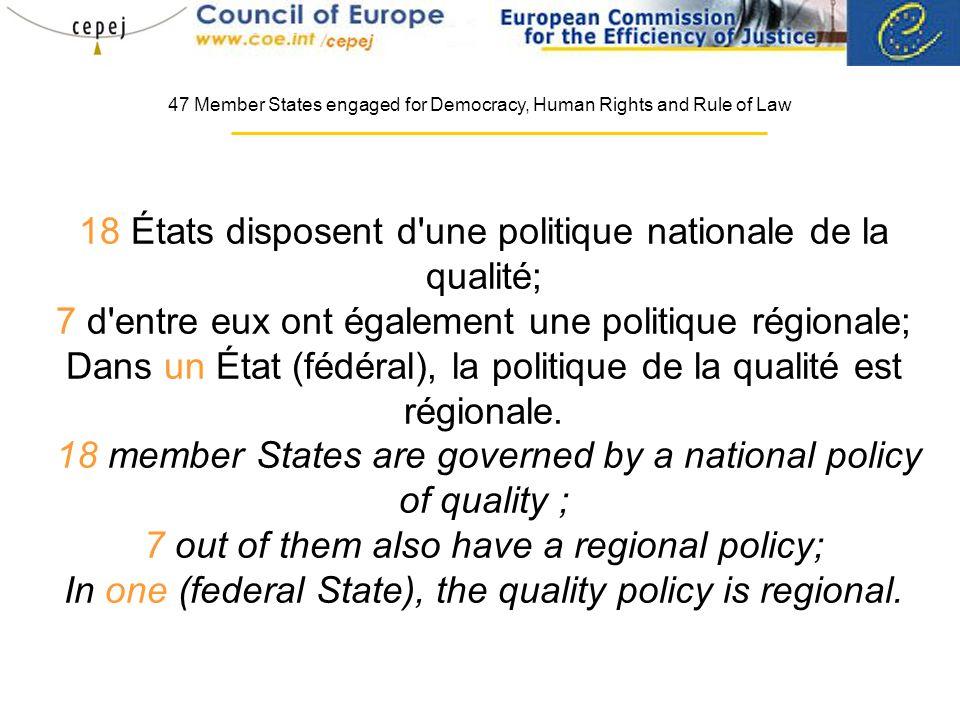 18 États disposent d une politique nationale de la qualité; 7 d entre eux ont également une politique régionale; Dans un État (fédéral), la politique de la qualité est régionale.
