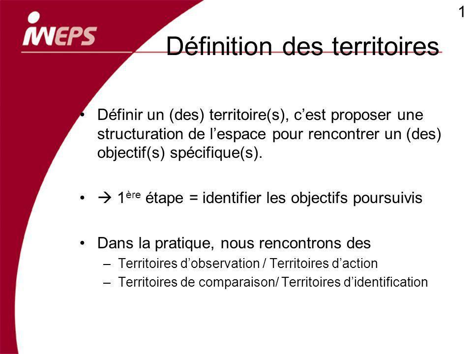 Définition des territoires Définir un (des) territoire(s), cest proposer une structuration de lespace pour rencontrer un (des) objectif(s) spécifique(s).
