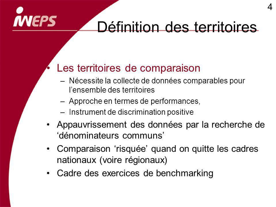 Définition des territoires Les territoires de comparaison –Nécessite la collecte de données comparables pour lensemble des territoires –Approche en te