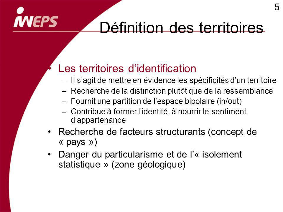 Définition des territoires Les territoires didentification –Il sagit de mettre en évidence les spécificités dun territoire –Recherche de la distinctio