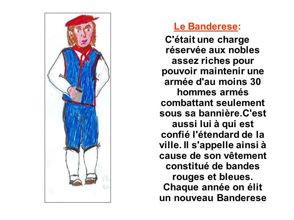 Le Banderese: C était une charge réservée aux nobles assez riches pour pouvoir maintenir une armée d au moins 30 hommes armés combattant seulement sous sa bannière.C est aussi lui à qui est confié l étendard de la ville.