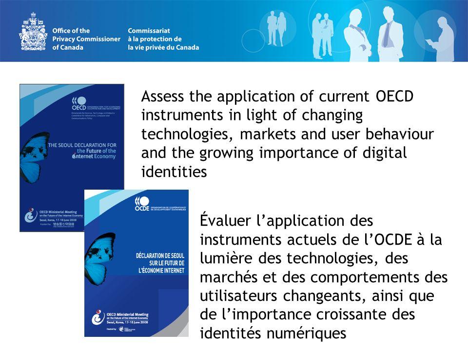 Évaluer lapplication des instruments actuels de lOCDE à la lumière des technologies, des marchés et des comportements des utilisateurs changeants, ainsi que de limportance croissante des identités numériques