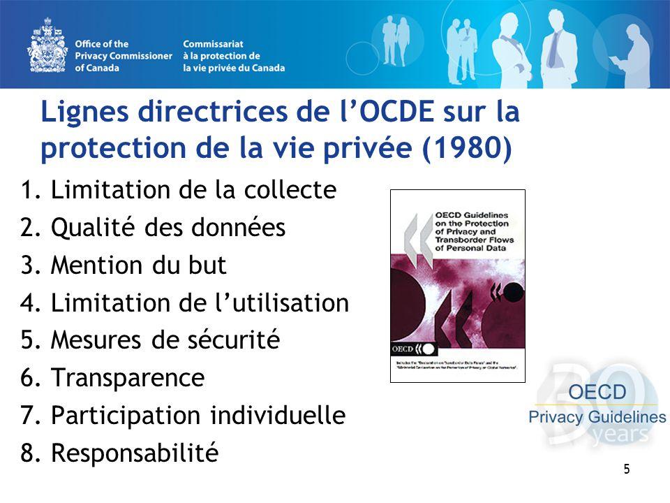 5 Lignes directrices de lOCDE sur la protection de la vie privée (1980) 1.
