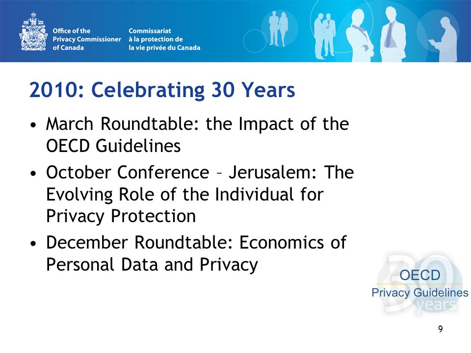 9 2010: Celebrating 30 Years March Roundtable: the Impact of the OECD Guidelines October Conference – Jerusalem: The Evolving Role of the Individual for Privacy Protection December Roundtable: Economics of Personal Data and Privacy