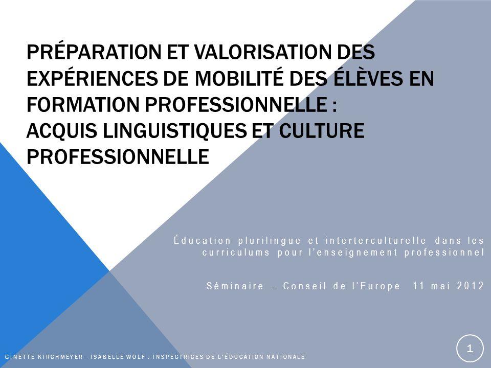 PRÉPARATION ET VALORISATION DES EXPÉRIENCES DE MOBILITÉ DES ÉLÈVES EN FORMATION PROFESSIONNELLE : ACQUIS LINGUISTIQUES ET CULTURE PROFESSIONNELLE Éducation plurilingue et interterculturelle dans les curriculums pour lenseignement professionnel Séminaire – Conseil de lEurope 11 mai 2012 GINETTE KIRCHMEYER - ISABELLE WOLF : INSPECTRICES DE L ÉDUCATION NATIONALE 1