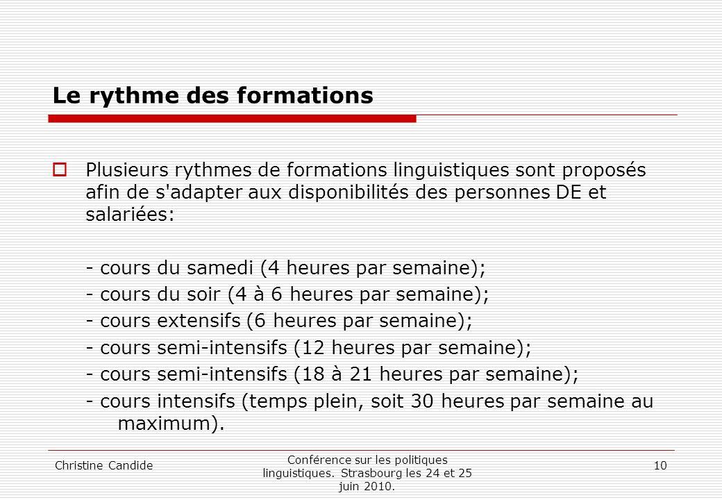 Christine Candide Conférence sur les politiques linguistiques. Strasbourg les 24 et 25 juin 2010. 10 Le rythme des formations Plusieurs rythmes de for
